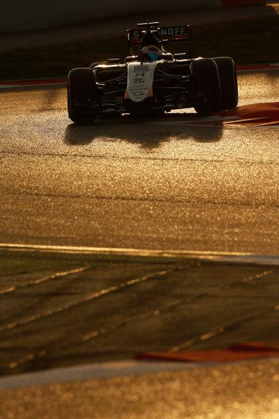 2015 F1 Pre Season Test 3 - Day 4 Circuit de Catalunya, Barcelona, Spain. Thursday  Sunday 1 March 2015. Sergio Perez, Force India VJM08 Mercedes.  World Copyright: Sam Bloxham/LAT Photographic. ref: Digital Image _14P5489