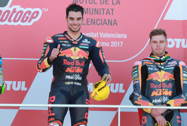 2017 Moto2 Championship - Round 18 Valencia, Spain  Sunday 12 November 2017 Podium: Race winner Miguel Oliveira, Red Bull KTM Ajo  World Copyright: Gold and Goose Photography/LAT Images  ref: Digital Image 706497