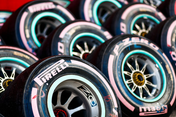 Circuit of the Americas, Austin, Texas, United States of America. Saturday 21 October 2017. A group of Pirelli Ultra Soft tyres marked with pink in place of the usual purple in support of Cancer awareness. World Copyright: Sam Bloxham/LAT Images  ref: Digital Image _W6I7614
