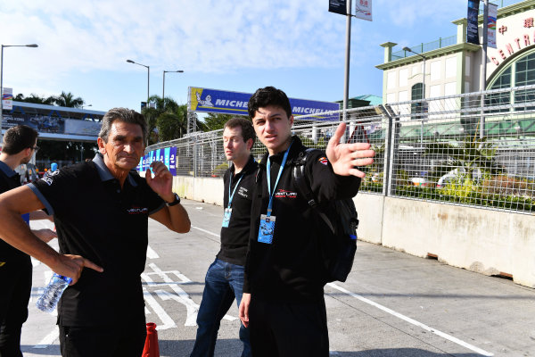 2017/2018 FIA Formula E Championship. Riound 1 - Hong Kong, China. Thursday 21 July 2016. Venturi team members. Jacky Eeckelhaert stands on the left. Photo: Mark Sutton/LAT/Formula E ref: Digital Image DSC_0050