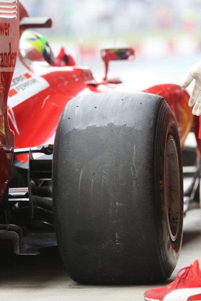 Felipe Massa (BRA) Ferrari F2012 Pirelli tyre. Formula One World Championship, Rd17, Indian Grand Prix, Buddh International Circuit, Greater Noida, New Delhi, India, Practice, Friday 26 October 2012.