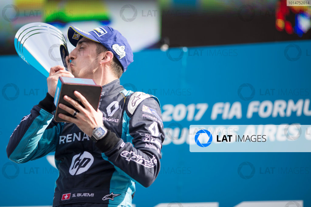 2016/2017 FIA Formula E Championship. Buenos Aires ePrix, Buenos Aires, Argentina. Saturday 18 February 2017 Sebastien Buemi (9, Renault e.dams) celebrates on the podium. Photo: Alastair Staley/LAT/Formula E ref: Digital Image 580A7548
