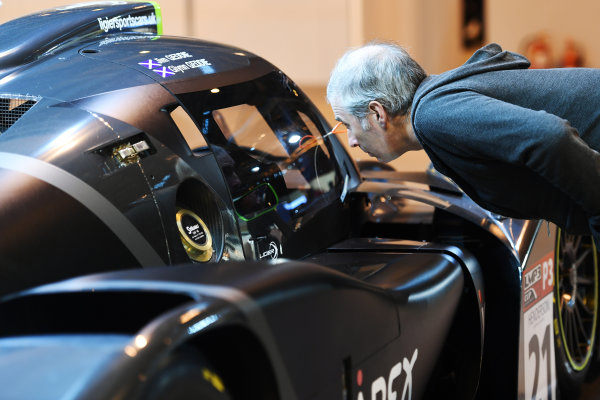 Autosport International Exhibition. National Exhibition Centre, Birmingham, UK. Sunday 15 January 2017. A visitor examines a Ligier at close quarters. World Copyright: Sam Bagnall/LAT Images Ref: DSC_5748