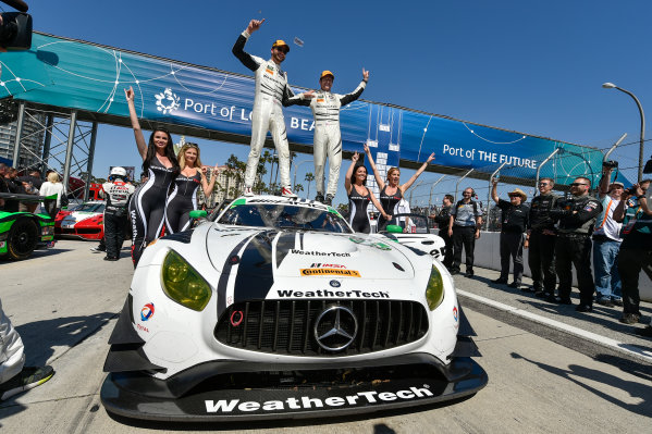 2017 IMSA WeatherTech SportsCar Championship BUBBA burger Sports Car Grand Prix at Long Beach Streets of Long Beach, CA USA Saturday 8 April 2017 50, Mercedes, Mercedes AMG GT3, GTD, Gunnar Jeannette, Cooper MacNeil celebrate the class win  in victory lane World Copyright: Scott R LePage/LAT Images ref: Digital Image lepage-170408-LB-34931