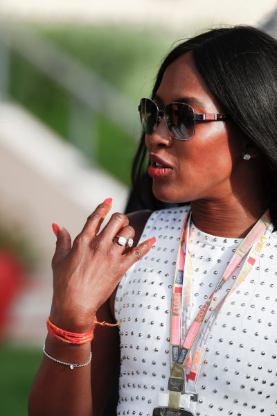 Bahrain International Circuit, Sakhir, Bahrain.  Sunday 16 April 2017. Naomi Campbell. World Copyright: Sam Bloxham/LAT Images ref: Digital Image _J6I1904