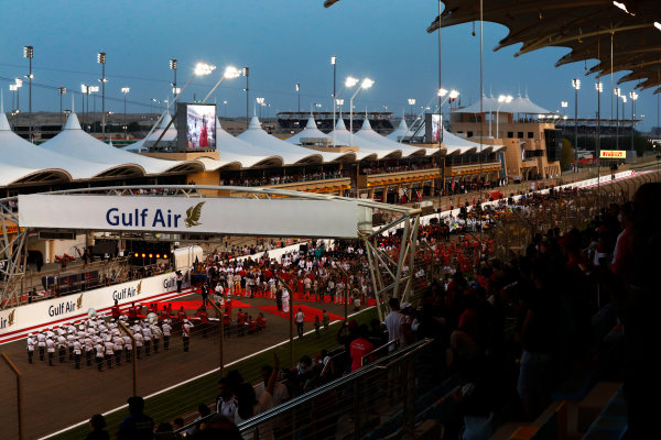 Bahrain International Circuit, Sakhir, Bahrain.  Sunday 16 April 2017. The grid presentation. World Copyright: Sam Bloxham/LAT Images ref: Digital Image _J6I2075