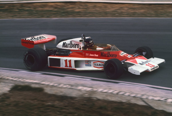 Brands Hatch, England. 16th - 18th July 1976.  James Hunt (McLaren M23-Ford), Disqualified, action.  World Copyright: LAT Photographic.  Ref: 76 GB 36.