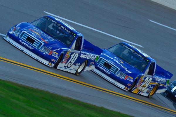 October 18-19, 2013, Talladega, Alabama USA Ross Chastain and Ryan Blaney trucks © 2013, Brian Czobat LAT Photo USA