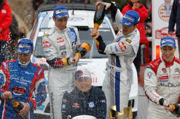 2014 World Rally Championship Monte Carlo Rally 13th - 19th January 2014 Sebastien Ogier, Jost CApito, VW, podium Worldwide Copyright: McKlein/LAT