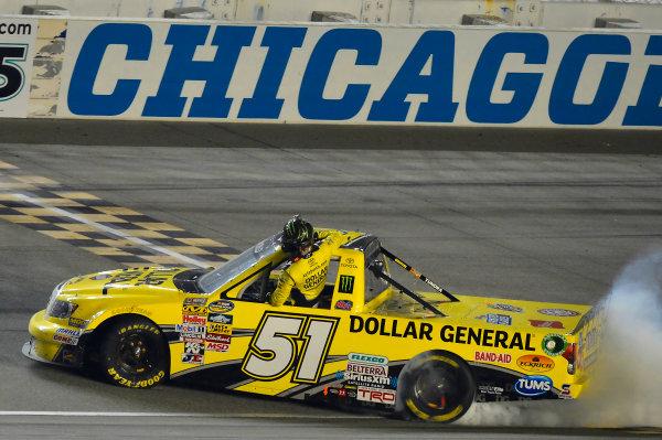 September 13, 2013, Joliet, Illinois  USA Kyle Busch does his Victory Burnout. © 2013, Brian Czobat LAT Photo USA