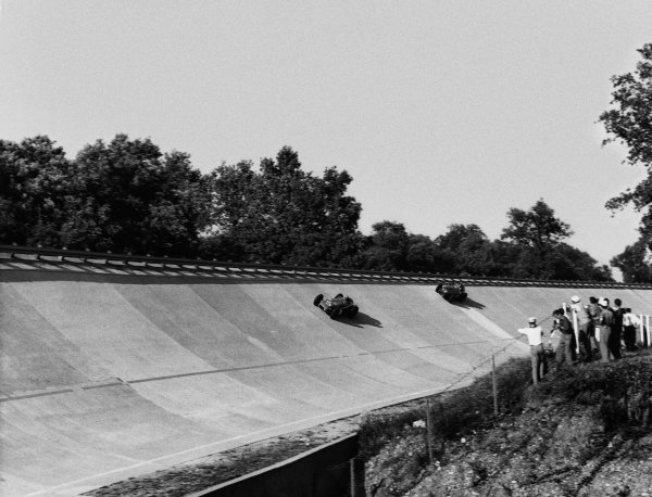 Monza, Italy. 29th June 1958. Jim Rathmann, Zink Leader Card Spl., 1st position, leads Phil Hill, Ferrari 4.2,  3rd position. The race was also known as Monzanapolis, action. World Copyright: LAT Photographic. Ref: Autocar Used Pic Pg 16, 4th July 1958.
