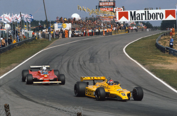 1980 Belgian Grand Prix. Zolder, Belgium. 2nd - 4th May 1980. Jan Lammers (ATS D4-Ford), retired, leads Jody Scheckter (Ferrari 312T5), 8th position, action.  World Copyright: LAT Photographic.  Ref:  80BELaa