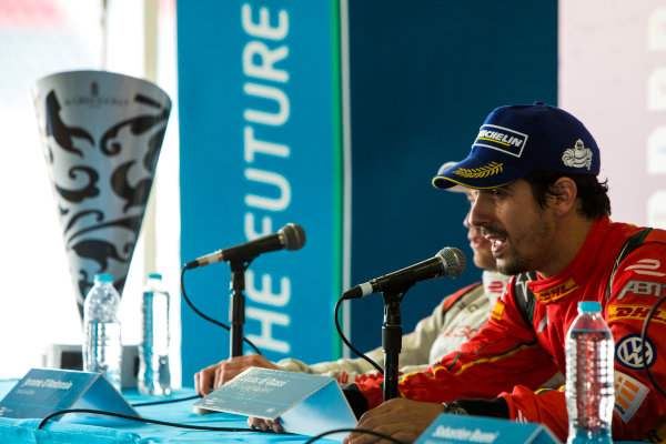2015/2016 FIA Formula E Championship. Mexico City ePrix, Autodromo Hermanos Rodriguez, Mexico City, Mexico. Saturday 12 March 2016. Lucas Di Grassi (BRA), ABT Audi Sport FE01. Photo: Zak Mauger/LAT/Formula E ref: Digital Image _79P4208