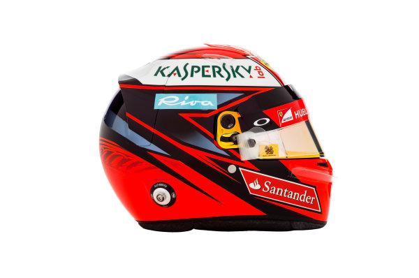 Ferrari SF16-H Reveal. Thursday 18 February 2016. The helmet of Kimi Raikkonen, Ferrari. Photo: Ferrari (Copyright Free FOR EDITORIAL USE ONLY) ref: Digital Image 160005_new-SF16-h_KR_HELMET_2016