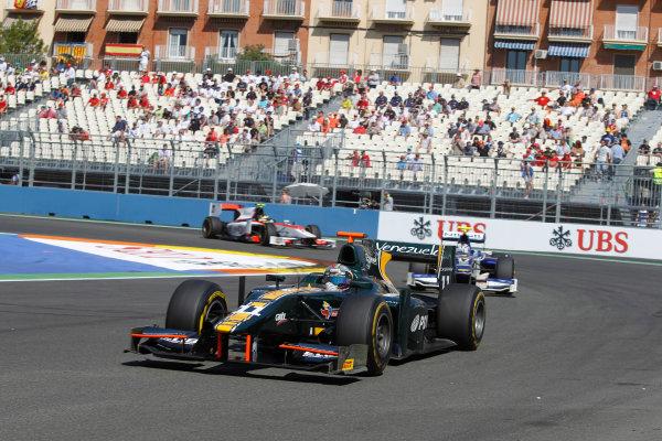 Valencia Street Circuit, Valencia, Spain.  24th June 2012. Sunday Race. Rodolfo Gonzalez (VEN, Caterham Racing). Action. Photo: Andrew Ferraro/GP2 Media Service. Ref: Digital Image _Q0C9844.jpg