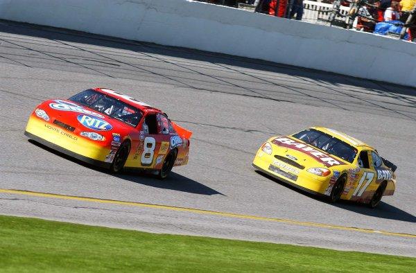 2003 NASCAR Busch Grand National Kooler Feb. 2003Dale Earnhardt Jr leading Matt KensethWorld Copyright -Robt LeSieur 2003LAT Photographic-ref: digital image