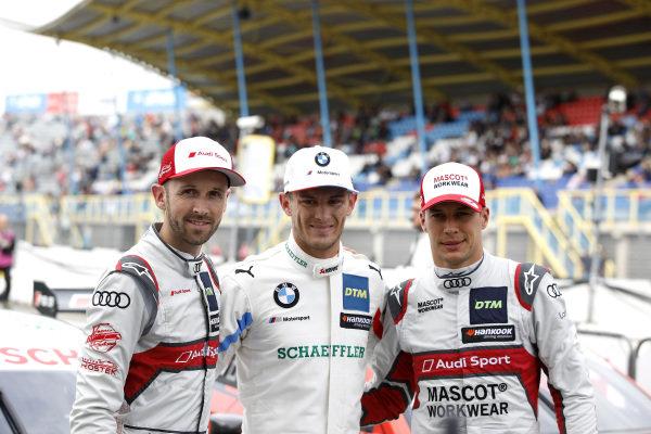 Top 3 after Qualifying, Pole sitter Marco Wittmann, BMW Team RMG, René Rast, Audi Sport Team Rosberg, Loic Duval, Audi Sport Team Phoenix.