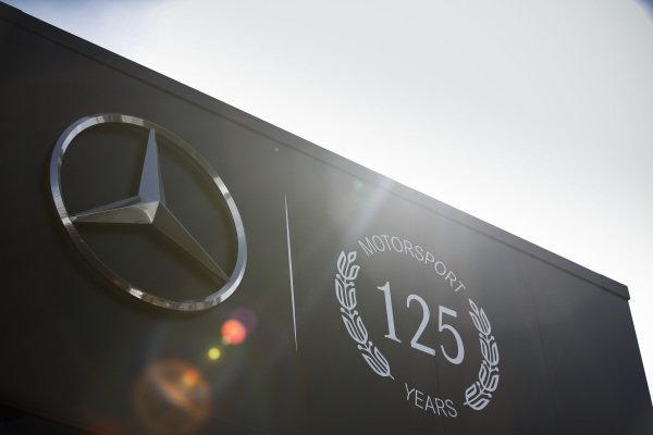 Mercedes AMG F1 125 years in motorsport logo on their motorhome