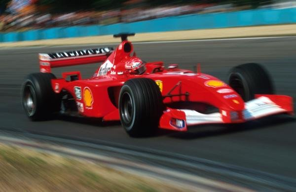 Michael Schumacher (GER) Ferrari F1 2001 won his record equalling fifty-first Grand Prix and his fourth World Championship Ð the second in a row for Ferrari. Hungarian Grand Prix, Hungaroring, Budapest, 19 August 2001.  BEST IMAGE