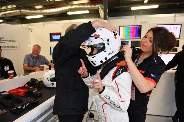 F1 Experiences 2-Seater passenger at Formula One World Championship, Rd1, Australian Grand Prix, Preparations, Melbourne, Australia, Thursday 22 March 2018.
