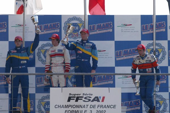 2002 French Formula Three ChampionshipLe Mans, France. 6th October 2002.Race 1 podium Olivier Pla (ASM ELF) / Tristan Gommendy (ASM ELF) / Renaud Derlot (Arta Signature)World Copyright: Aubard/DPPI/LAT Photographicref: Digital Image Only