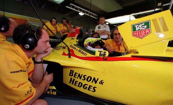1997 Brazilian Grand Prix.Interlagos, Sao Paulo, Brazil.28-30 March 1997.Giancarlo Fisichella (Jordan 197 Peugeot).World Copyright - LAT Photographic
