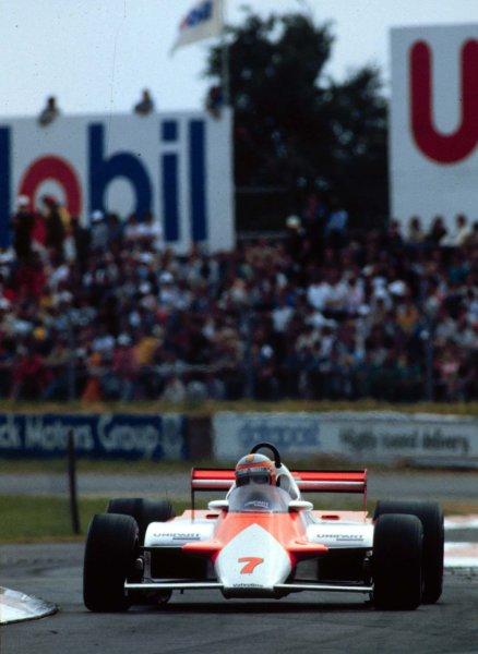 1981 British Grand Prix.Silverstone, England.16-18 July 1981.John Watson (McLaren MP4/1 Ford) 1st position.World Copyright - LAT Photographic
