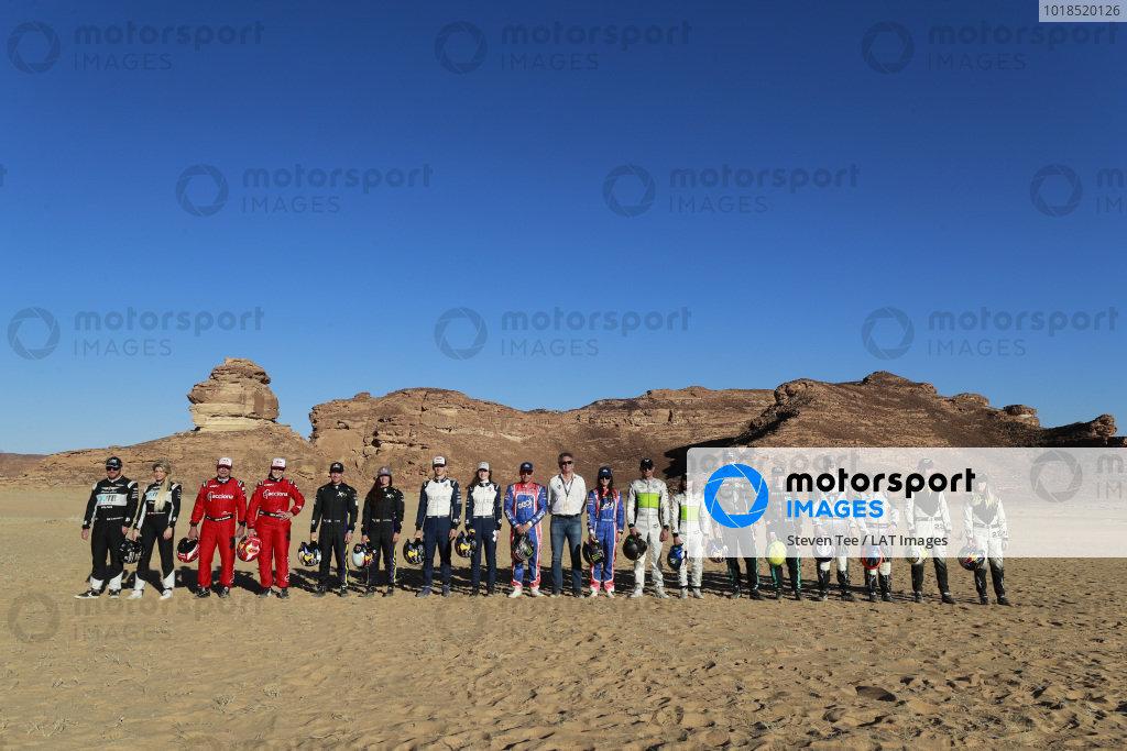 (l-r) Oliver Bennett (GBR), Hispano Suiza Xite Energy Team, Christine 'GZ' Giampaoli Zonca (ESP), Hispano Suiza Xite Energy Team, Carlos Sainz (ESP), Acciona | Sainz XE Team, Laia Sanz (ESP), Acciona | Sainz XE Team, Cristina Gutierrez (ESP), X44, Sebastien Loeb (FRA), X44, Timmy Hansen (SWE), Andretti United Extreme E, Catie Munnings (GBR), Andretti United Extreme E, Kyle Leduc (USA), Segi TV Chip Ganassi Racing, Alejandro Agag, CEO, Extreme E, Sara Price (USA), Segi TV Chip Ganassi Racing, Stephane Sarrazin (FRA), Veloce Racing, Jamie Chadwick (GBR), Veloce Racing, Johan Kristoffersson (SWE), Rosberg X Racing, Molly Taylor (AUS), Rosberg X Racing, Mattias Ekstrom (SWE), ABT CUPRA XE, Claudia Hurtgen (GER), ABT CUPRA XE, Jenson Button (GBR), JBXE Extreme-E Team, and Mikaela Ahlin-Kottulinsky (SWE), JBXE Extreme-E Team