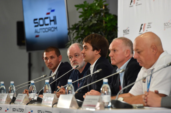 (L to R): Dmitry Pleshalov (RUS) Russian Automobile Ferderation Representative and and Head of Sochi Autodrom Department of NPJSC, Richard Cregan (IRL) Russian Grand Prix International Consultant, Sergey Vorobyev (RUS) Sochi Autodrom Deputy General Director, Alexander Saurin (RUS) Deputy Head of Administration of Krasnodar Krai and Sergey Ivanov (RUS) at Formula One World Championship, Rd15, Russian Grand Prix, Practice, Sochi Autodrom, Sochi, Krasnodar Krai, Russia, Friday 9 October 2015.