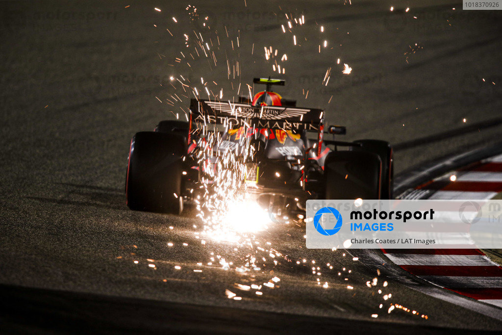 Sparks fly from Alexander Albon, Red Bull Racing RB16