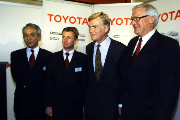 2000 Belgian Grand Prix.Spa-Francorchamps, Belgium. 25-27 August 2000.Toyota Motor Corp. Managing Director and Toyota Motorsport Chairman Tsutomu Tomita with Allan McNish, FIA President Max Mosley and Toyota Motorsport President Ove Andersson at a Toyota press conference.World Copyright - LAT Photographic