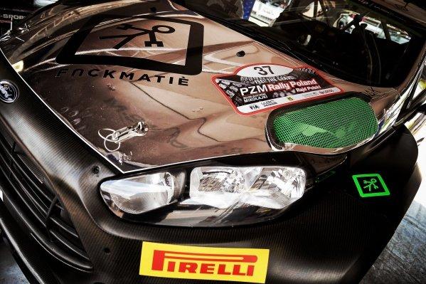 The car of Lorenzo Bertelli (ITA) / Simone Scattolin (ITA), FWRT SRL Ford Fiesta RS WRC at FIA World Rally Championship, Rd7, Rally Poland, Preparations, Mikolajki, Poland, 29 June 2016.