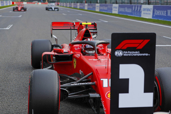Charles Leclerc, Ferrari SF90, stops on the grid after taking pole position