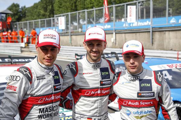 Top 3 after Qualifying, Pole sitter René Rast, Audi Sport Team Rosberg, Loic Duval, Audi Sport Team Phoenix, Robin Frijns, Audi Sport Team Abt Sportsline.