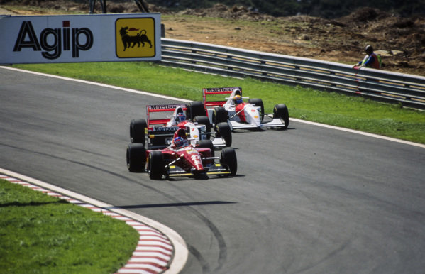 Jean Alesi, Ferrari F93A, leads Mika Häkkinen, McLaren MP4-8 Ford, and Ayrton Senna, McLaren MP4-8 Ford.