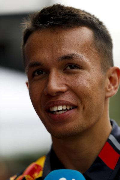Alexander Albon, Red Bull Racing speaks to the media