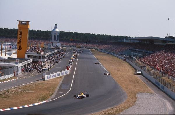 Riccardo Patrese leads the two Benetton's of Alessandro Nannini and Nelson Piquet German GP, Hockenheim, Germany, 29 July 1990
