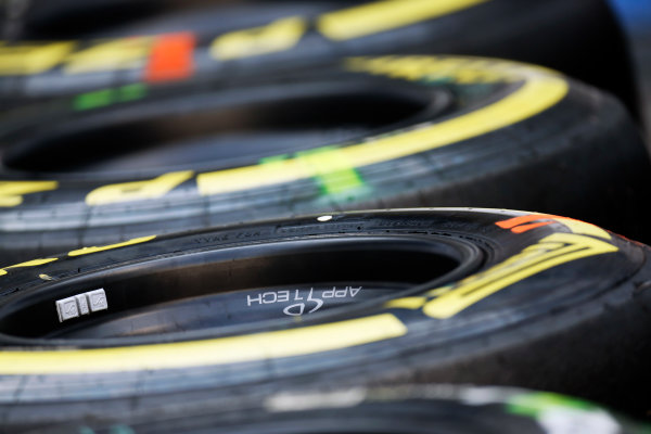 Spa-Francorchamps, Spa, Belgium. Saturday 22 August 2015. Used tyres after Qualifying. World Copyright: Alastair Staley/LAT Photographic ref: Digital Image _R6T5787