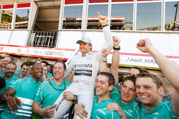 Monte Carlo, Monaco 26th May 2013 Nico Rosberg celebrates his win with the Mercedes team.  World Copyright: Charles Coates/LAT Photographic ref: Digital Image _N7T1313