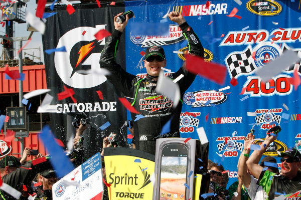 22-24 March, 2013, Fontana, California, USA Kyle Busch celebrates in Victory Lane ©2013, Matt Thacker LAT Photo USA