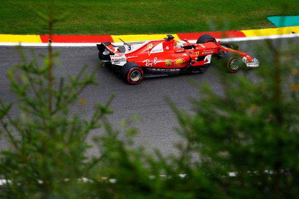 Spa Francorchamps, Belgium.  Saturday 26 August 2017. Sebastian Vettel, Ferrari SF70H.  World Copyright: Steven Tee/LAT Images  ref: Digital Image _O3I1575