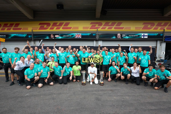 Spa Francorchamps, Belgium.  Sunday 27 August 2017. Lewis Hamilton, Mercedes AMG, 1st Position, celebrates with his team. World Copyright: Steve Etherington/LAT Images  ref: Digital Image SNE10895