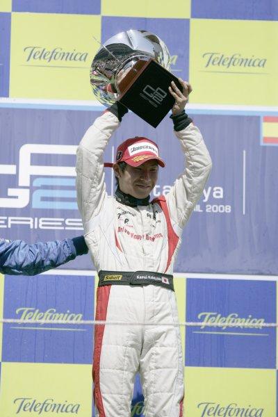 2008 GP2 Series. Round 1. Sunday Race.Barcelona, Spain. 27th April 2008Kamui Kobayashi (JPN, Dams) celebrates his victory on the podium. World Copyright: Alastair Staley/GP2 Series Media Service.ref:__P9O6138 jpg
