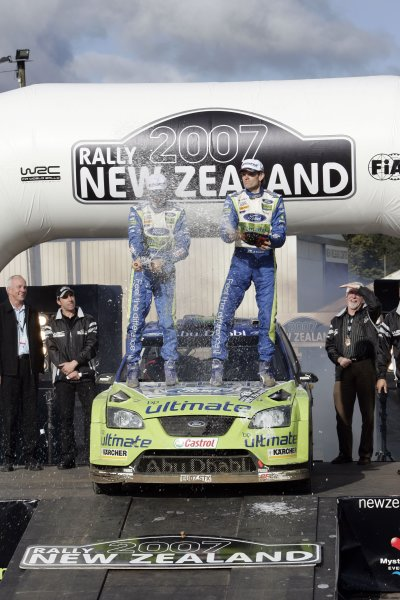 2007 FIA World Rally Champs. Round 11Rally New Zeland, 31st  August - 2nd  September 2007Marcus Gronholm, Ford, podiumWorld Copyright: McKlein/LAT