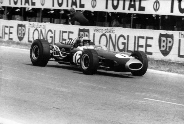 1966 French Grand Prix.Reims, France. 3 July 1966.Jack Brabham, Brabham BT19-Repco, 1st position, action.World Copyright: LAT Photographic