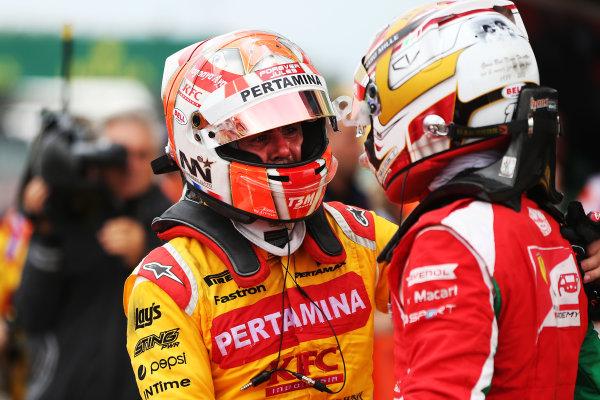 2017 FIA Formula 2 Round 6. Silverstone, Northamptonshire, UK. Saturday 15 July 2017. Norman Nato (FRA, Pertamina Arden), Charles Leclerc (MCO, PREMA Racing).  Photo: JEP/FIA Formula 2. ref: Digital Image AX7K0763