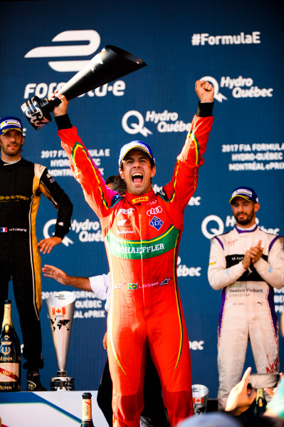 2016/2017 FIA Formula E Championship. Round 12 - Montreal ePrix, Canada Sunday 30 July 2017.Lucas Di Grassi (BRA), ABT Schaeffler Audi Sport, Spark-Abt Sportsline, ABT Schaeffler FE02., celebrates on the podium. Photo: Patrik Lundin/LAT/Formula E ref: Digital Image PL2_1474