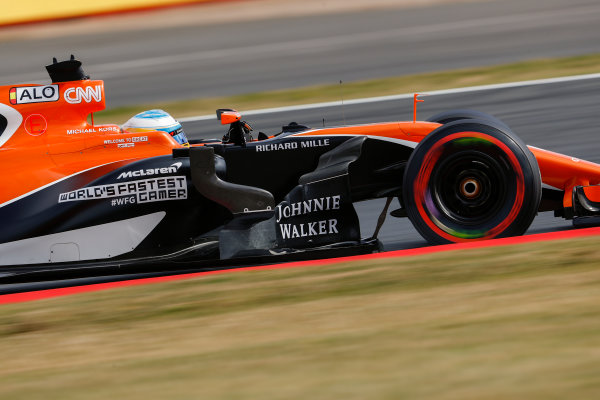 Silverstone, Northamptonshire, UK.  Friday 14 July 2017. Fernando Alonso, McLaren MCL32 Honda. World Copyright: Glenn Dunbar/LAT Images  ref: Digital Image _X4I3228