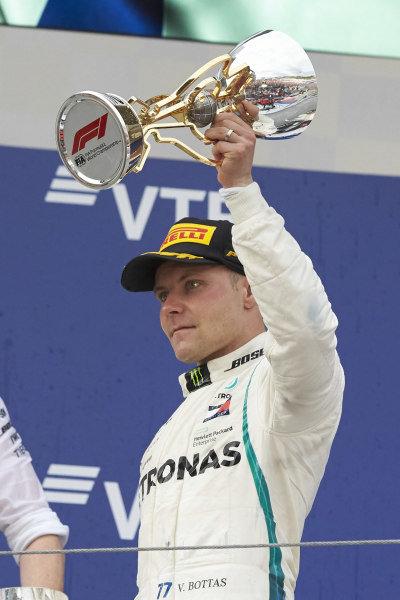 Valtteri Bottas, Mercedes AMG F1, celebrate on the podium