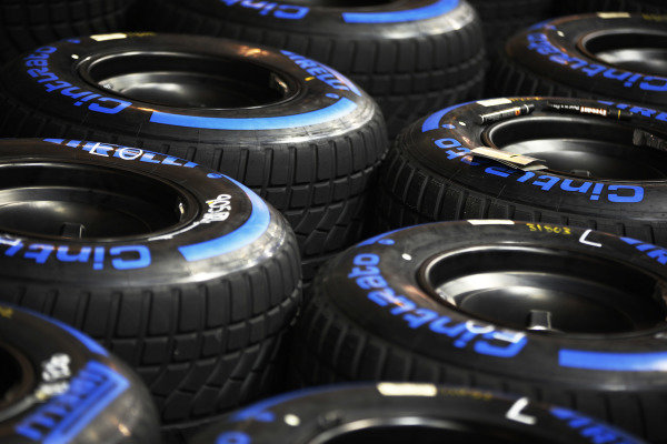 Wet Pirelli tyres are prepared for the weekend.